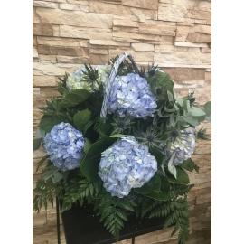 Arreglo de hortensias azules